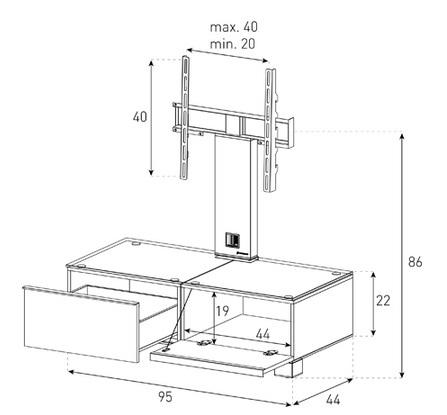 Wymiary stolika rtv z uchwytem na telewizor MD8095