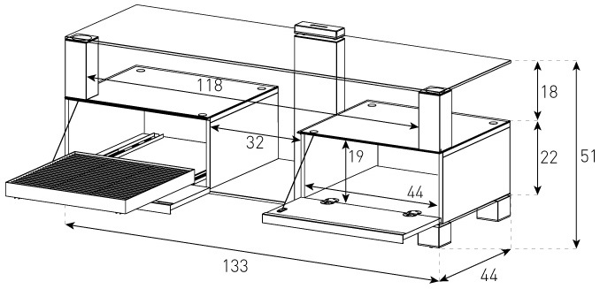 wymiary stolika rtv MD9135 Sonorous