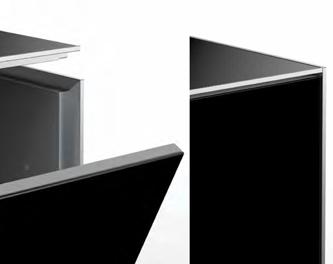 Krawędzie z anodowanego aluminium Zastosowanie anodowanych profili aluminiowych, podkreśla estetykę wykonania krawędzi stolika.