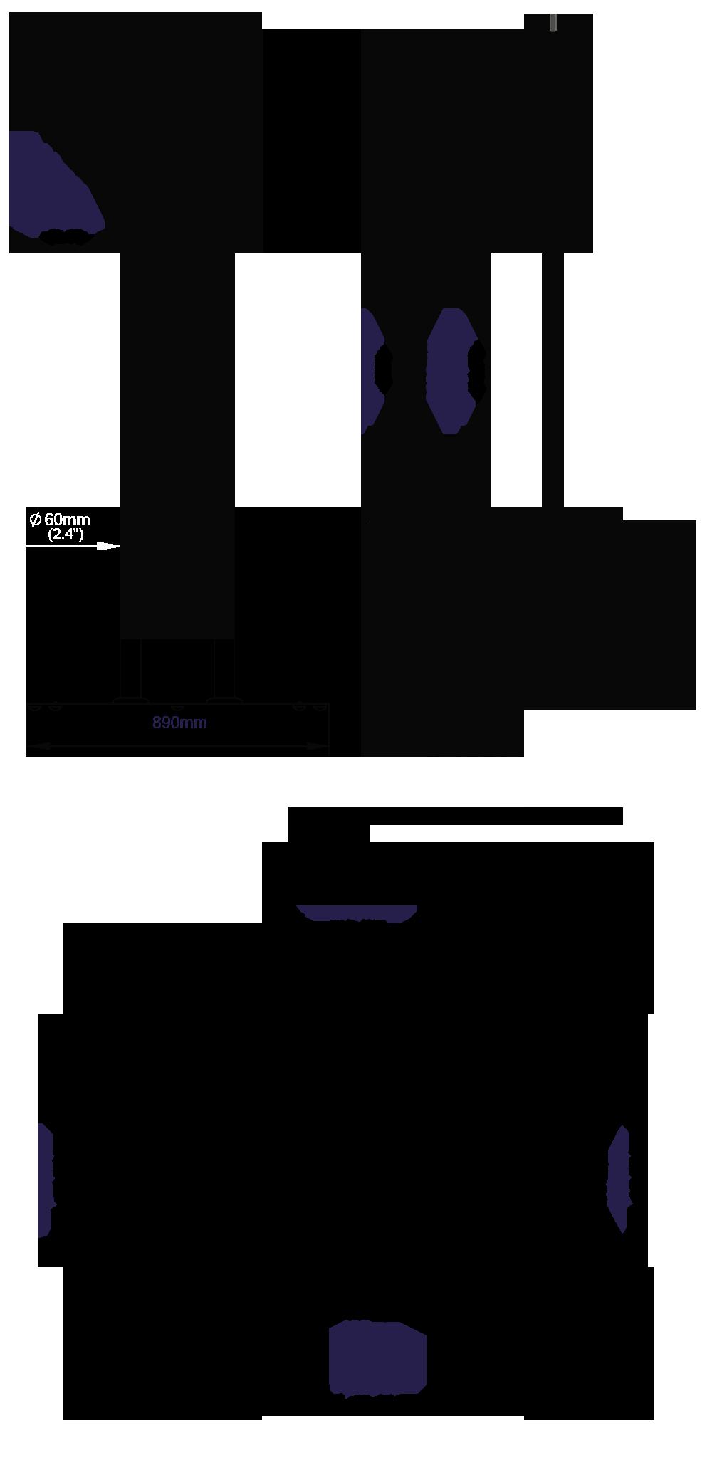 Statyw podłogowy do ekranów o przekątnej do 55 cali BT8551 wys.200