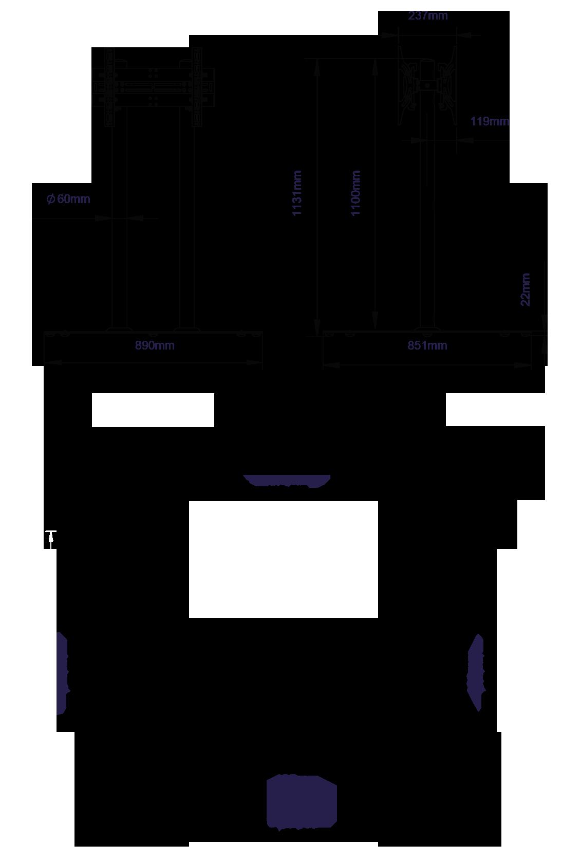 Stojak podłogowy do montażu dwóch ekranów o przekątnej 55 cali o wysokości 110 cm