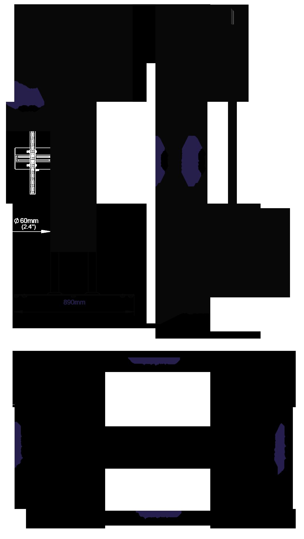 Wymiary stojaka do telewizorów o dużej przekątnej ekranu BT8553 wys. 200 cm