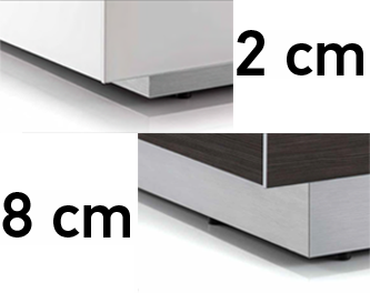 Wybór podstawy Możliwość wyboru wysokości podstawy stolika, umożliwia więcej możliwości dopasowania mebli do ich otoczenia.