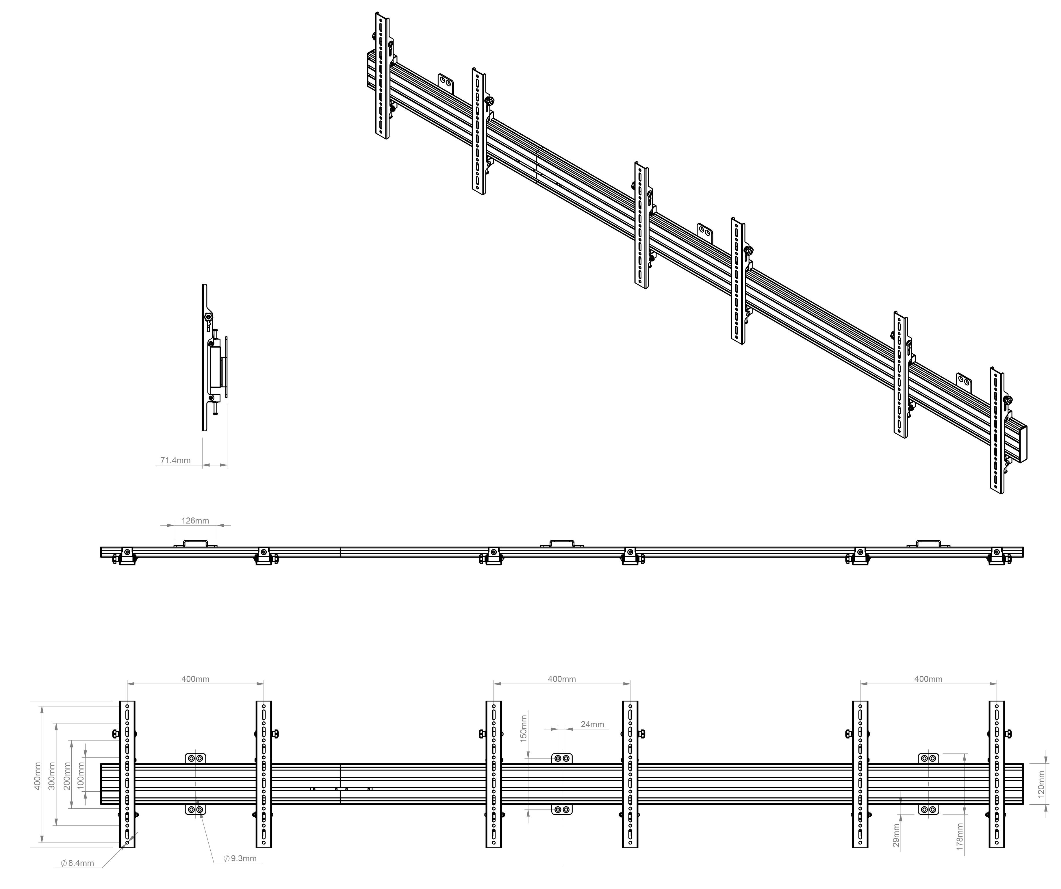 Ściana wideo 3 ekrany obok siebie na płaskich ramionach mocujących