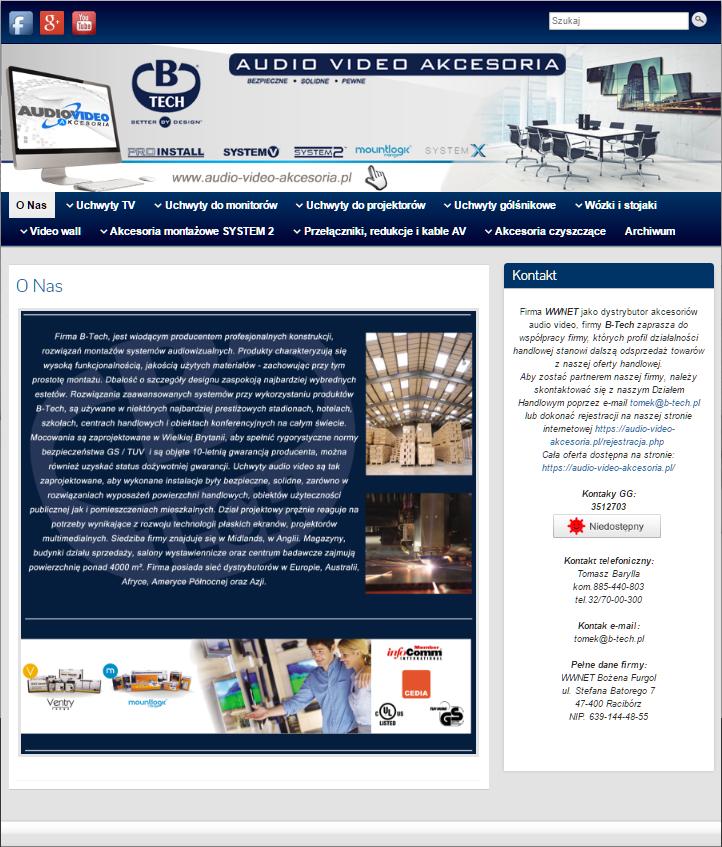Oficjalna strona internetowa Polskiego dystrybutora firmy B-Tech