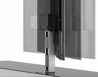Obrotowy uchwyt Aluminiowy profil przystosowany do montażu telewizora, zapewnia obracanie ekranu lweo-prawo, a zintegrowany system zarządzania kablami pozwala na ich estetyczne ukrycie.