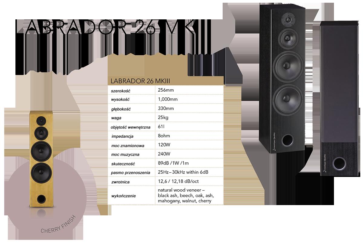 """AQ LABRADOR 26 MKIII Kolumna trójdrożnego z systemem bass reflex, zainspirowany przez legendarny L26 - absolutnie najlepiej sprzedawany produkt z serii Labrador. Obudowa jest wykonana z kombinacji MDF oraz płyt wiórowych. Doskonałą sztywność osiągnięto dzięki połączeniu płaskich i krzyżowych usztywnień, oczywiście przedni panel wykonany jest metodą kanapkową. Sztywność i odporność na wibracje jest jednym z filarów jakości dźwięku L26 MKIII. Para głośników niskotonowych Scan-Speak z dużymi 8"""" membranami z włókna szklanego, dokładnie symetryczne gumowe kurtyny i potężny magnes na litym koszu jest kolejnym istotnym elementem aby osiągnąć mocny i dokładny bas. Bassreflex znajduje się na przednim panelu, dzięki czemu możliwe jest umieszczenie głośnika na górze przy ścianie bez znaczących zniekształceń głosu. Głośnik centralny wykorzystuje te same elementy, jak przy basie, sztywny aluminiowy kosz, gumowy zawias, liniowy silnik magnetyczny, nisko-masowe membrany tkane z włókien węglowych. Jest również produktem pochodzącym z duńskiej firmy Scan-Speak. Głośnik jest przechowywany w oddzielnej strefie tłumienia, co jest częścią usztywnień wewnętrznych. Reprodukcją najwyższych częstotliwości zajmuje się 1"""" tweeter z miękką tkaninową kopułą i ferrofluidem, który jest jednym z najlepszych modeli firmy Vifa. O podział funkcji stara się przetwornica elektronicznej zwrotnicy, wyprodukowana metodą D2D z wykorzystaniem precyzyjnych walcowanych kondensatorów poliestrowych, aplikowanych do panelu nośnego. Wewnętrzne okablowanie to przewody firmy Audioquest TYPE4, wszystkie połączenia są lutowane na ciepło. Kolumna jest wyposażona w zdejmowaną ramkę, która jest mocowana na magnesach, zintegrowanych z obudową. Dzięki temu przód kolumny po zdjęciu ramki gładki, bez otworów montażowych maskownicy. Podstawa kolumny jest wyposażona w regulowane kolce. Dźwięk L26 MKIII jest bardzo uniwersalny, kolumna doskonale radzić sobie z każdym gatunkiem muzyki. Ma mocny i solidny bas, bardzo czytelne śr"""