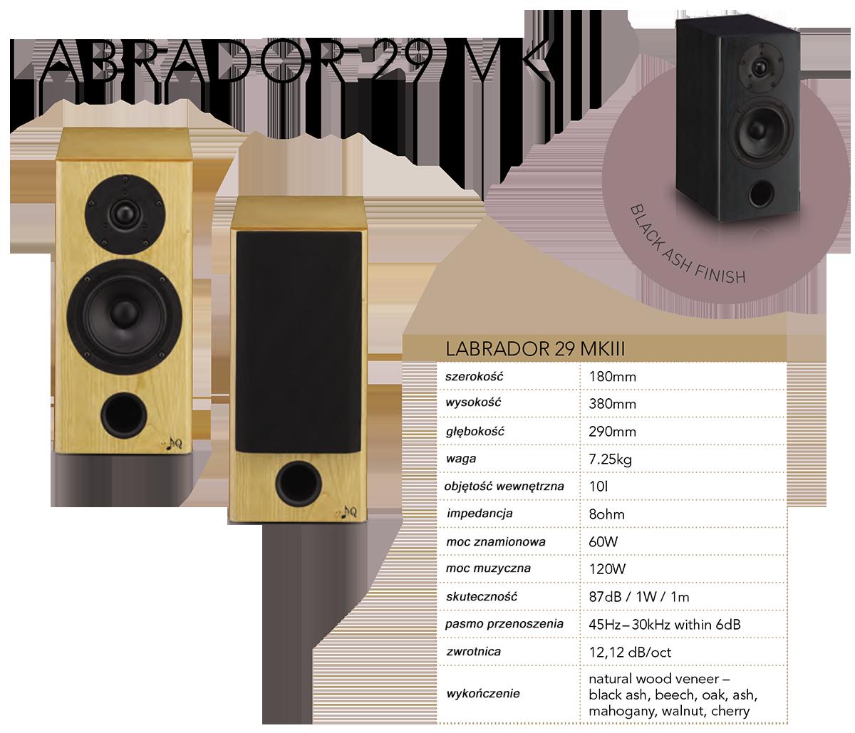 """AQ LABRADOR 29 MKIII Dwupasmowa podstawkowa kolumna głośnikowa małych rozmiarów i wielkiego serca. Ze względu na niewielki rozmiar jest bardzo łatwo ją umieścić w pomieszczeniu, spełnia kryteria estetyczne współczesnych architektów i jej muzyczny przenos jest dokładny, prawdziwy i żywy. Labrador 29 MKIII jest zaprojektowany jako deflektor bassreflex, umieszczony w podwójnym czole. Dzięki takiemu rozwiązaniu możliwe jest to, że głośnik można ustawić na meblach lub zamontować na ścianie. W obudowie o objętość 10 litrów jest wbudowany 5"""" woofer Scan-Speak z masywnym koszem odlanym z aluminium z membraną z włókna szklanego. Głośnik wysokotonowy jest precyzyjnym głośnikiem Vifa 1"""" z tekstylną wkładką i chłodzony ferrofluidem. Zaawansowana elektroniczna zwrotnica drugiego rzędu jest umieszczona na panelu, a wszystkie elementy są lutowane na gorąco przy użyciu metody D2D. Labrador 29 MKIII, może być używany jako kolumna przednia w mniejszych pomieszczeniach lub jako surround do kina domowego, w dużych pomieszczeniach."""