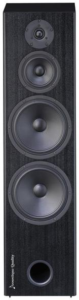 AQ LABRADOR 26 MKIII  Kolumna trójdrożnego z systemem bass reflex,  zainspirowany przez legendarny L26 – absolutnie najlepiej sprzedawany produkt z serii Labrador. Obudowa jest wykonana z kombinacji MDF oraz płyt wiórowych. Doskonałą sztywność osiągnięto dzięki połączeniu płaskich i krzyżowych usztywnień, oczywiście przedni panel wykonany jest metodą kanapkową. Sztywność i odporność na wibracje jest jednym z filarów jakości dźwięku L26 MKIII.  Para głośników niskotonowych Scan-Speak z dużymi 8″ membranami z włókna szklanego, dokładnie symetryczne gumowe kurtyny i potężny magnes na litym koszu jest kolejnym istotnym elementem aby osiągnąć mocny i dokładny bas. Bassreflex znajduje się na przednim panelu, dzięki czemu możliwe jest umieszczenie głośnika na górze przy ścianie bez znaczących zniekształceń głosu. Głośnik centralny wykorzystuje te same elementy, jak przy basie, sztywny aluminiowy kosz, gumowy zawias, liniowy silnik magnetyczny, nisko-masowe membrany tkane z włókien węglowych. Jest również produktem pochodzącym z duńskiej firmy Scan-Speak. Głośnik jest przechowywany w oddzielnej strefie tłumienia, co jest częścią usztywnień wewnętrznych. Reprodukcją najwyższych częstotliwości zajmuje się 1″ tweeter z miękką tkaninową kopułą i ferrofluidem, który jest jednym z najlepszych modeli firmy Vifa. O podział funkcji stara się przetwornica elektronicznej zwrotnicy, wyprodukowana metodą D2D z wykorzystaniem precyzyjnych walcowanych kondensatorów poliestrowych, aplikowanych do panelu nośnego. Wewnętrzne okablowanie to przewody firmy Audioquest TYPE4, wszystkie połączenia są lutowane na ciepło.  Kolumna jest wyposażona w zdejmowaną ramkę, która jest mocowana na magnesach, zintegrowanych z obudową. Dzięki temu przód kolumny po zdjęciu ramki gładki, bez otworów montażowych maskownicy. Podstawa kolumny jest wyposażona w regulowane kolce.  Dźwięk L26 MKIII jest bardzo uniwersalny, kolumna doskonale radzić sobie z każdym gatunkiem muzyki. Ma mocny i solidny bas, bardzo czytel