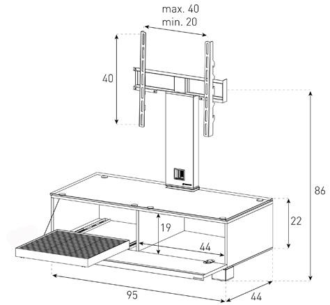Wymiary stolika audio video rtv SONOROUS MD8095 WOOD