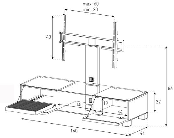 md8140 wymiary stolika rtv z uchwytem do telewizora