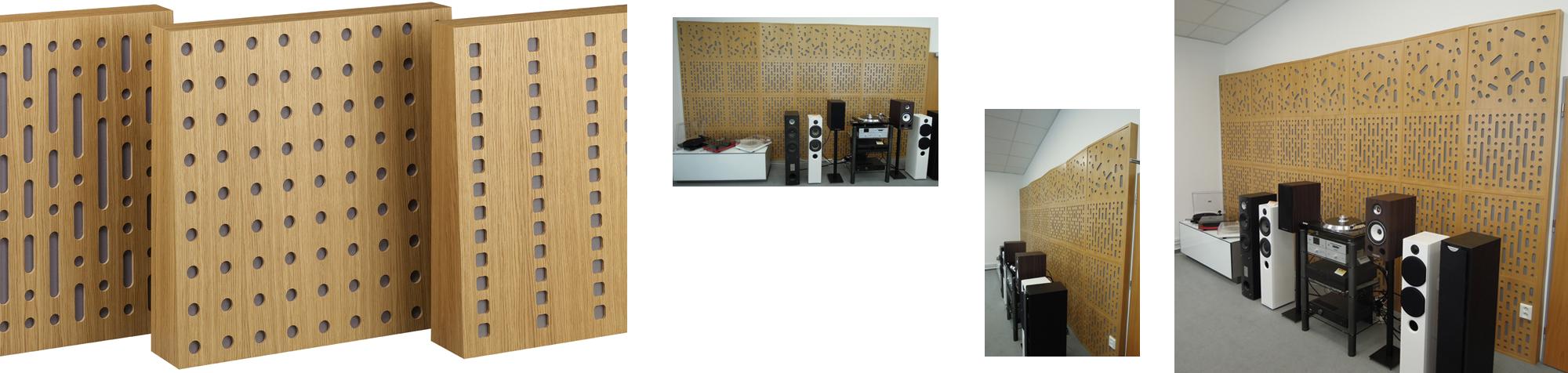 Panele akustyczne Przedstawiamy nowy produkt w naszej ofercie – panel akustyczny, łączące w sobie funkcję dyfuzora oraz absorbera. Dzięki nowatorskiej konstrukcji panele doskonale poprawiają warunku akustyczne pomieszczenia nie przegłuszając go. Dźwięk pozostaje czytelny i zrównoważony. AQ Soundpanel, został zaprojektowany w trzech wzorach o wymiarach 60 x 60 cm, panel wypełniony wełną mineralną pochłaniającą dźwięk, płyta frontowa z odpowiednimi wzorami perforacji rozpraszająca dźwięk. Prosty i bezpieczny montaż zapewniają cztery otwory, panele nadają się do montażu na ścianie lub na suficie. Eliminuje pogłos, wyrównuje charakterystykę pomieszczenia unikając przetłumienia, szerokopasmowa skuteczność działania.