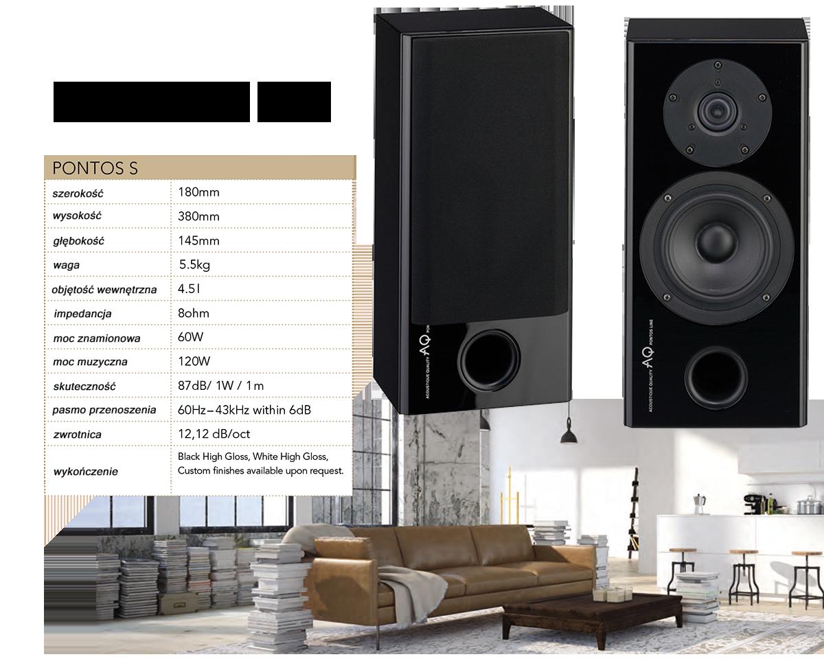 AQ Pontos S W obudowie znajduje się identyczny głośnik jak Pontos 9, ale o zredukowanej głębokości - 15 cm łącznie z ramką, głośniki Scan-Speak, o mocy 120W. Idealne wymiary głośników, przeznaczonych dla prawidłowego funkcjonowania kinie domowego. Pontos S konceptualnie, jest zaprojektowany jako dwudrożny głośnik surround z systemem bassreflex. Bassreflex, umieszczony jest od frontu, dzięki temu głośnik można umieścić bezpośrednio na ścianie. Do tego dedykowany jest praktyczny uchwyt AQ SAT 4 lub BT 1. Korpus wykonany jest z płyty MDF, obudowa o konstrukcji warstwowej. Ze względu na swoje kompaktowe wymiary, sztywność korpusu jest idealna, nie brakuje w nim systemu usztywnień wewnętrznych. Bassreflex znajduje się w dolnej części obudowy. Maskownice są pokryte czarną tkaniną i są przymocowane za pomocą magnesów. Podczas ich zdejmowania, punkty mocowania nie są widoczne. Gniazdo głośnikowe jest wyposażony w zaciski śrubowe, które umożliwiają połączenie bi-wiring i bi-amping. Zastosowane wewnętrzne przewody łączące, to kable amerykańskiej firmy AUDIOQUEST z serii Rocket 33. Stosując ten sam typ kabla do podłączenia ze wzmacniaczem, zapewnimy maksymalną szczegółowość i dokładność w odtwarzaniu audio. Oba zamontowane głośniki pochodzą z duńskich fabryk Scan-Speak. Obudowa kosza głośnika niskotonowego i membrana wykonane są z włókna szklanego zapewniają nawet przy stosunkowo niewielkiej objętości pełny i stały bas. Używany wysokotonowy głośnik jest taki sam jak w większych modelach z tej serii, a tym samym zapewnia takie same doskonałe warunki w wysokich częstotliwościach, dzięki specjalnej konstrukcji czaszy z rozszerzonym nabiegunnikiem, który zapewnia większy obszar odsłuchu niż zwykle ze standardowym kulowym. Warstwowe wykończenie wszystkich zestawów Pontos, jest zrobione poprzez wysokojakościowy lakier fortepianowy, nanoszony w ośmiu warstwach. Zwartość i warstwa lakieru, mają bardzo pozytywny wpływ na sztywność obudowy. Mimo, że jest to jeden z najmniejszych modeli 