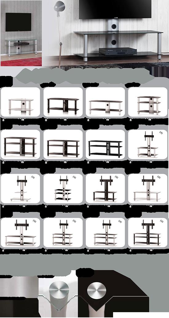 Szklane stoliki z uchwytem pod telewizor Tureckiego producenta Sonorous seria neo