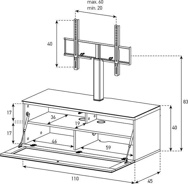 Wymiary szafki z uchwytem na telewizor STA-111 SONOROUS
