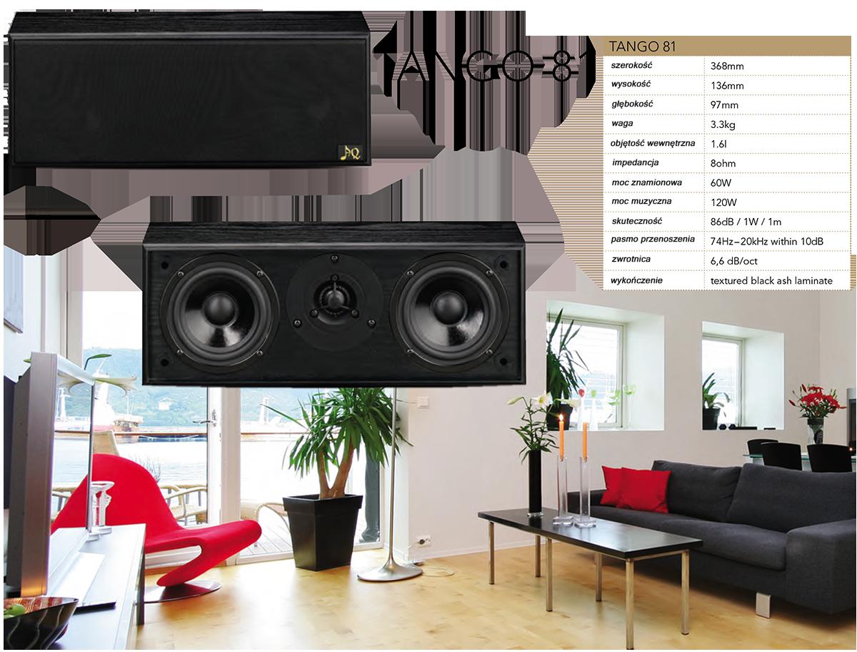 """AQ Tango 81 Dwudrożny centralny głośnik, głośniki o mocy 120W, są ułożone w systemie D'Appolito, dwie średniobasowe przetwornice symetrycznie wokół głośnika wysokotonowego. Centrum dla systemów kina domowego jest dwudrożna kolumna głośnikowa z bassreflexem. Głośniki są rozmieszczone w konfiguracji D'Appolito, dwa średniobasowe głośniki symetrycznie wokół głośnika wysokotonowego. W tym układzie, wynikające z charakterystyki kierunkowe są optymalne dla pomieszczeń mieszkalnych. Głośnik wysokotonowy to ¾"""" AQ TW11 z kopułką miękkiego tworzywa sztucznego i chłodzonym ferrofluidem. Dwa identyczne głośniki niskotonowe mają impregnowaną papierową membranę zamontowaną na elastycznym gumowym zawiasie w stalowym koszu. Koncepcja ta jest idealna pod względem reprodukcji ludzkiego głosu, który jest jednym z obszarów, gdzie większość czynności jest emitowanych w centralnym kanale kina domowego. W tej dziedzinie również ludzkie ucho jest najbardziej otwarte i najbardziej krytyczne. Ze względu na małe rozmiary, jest łatwo umieścić centralny głośnik AQ Tango 81 w pobliżu ekranu. Jego mała głębokość umożliwia montaż na ścianę. Jakość prezentowana przez ten głośnik jest szczególnie dostrzegalna w kontraście ze zdegradowanym dźwiękiem dzisiejszych płaskich telewizorów."""