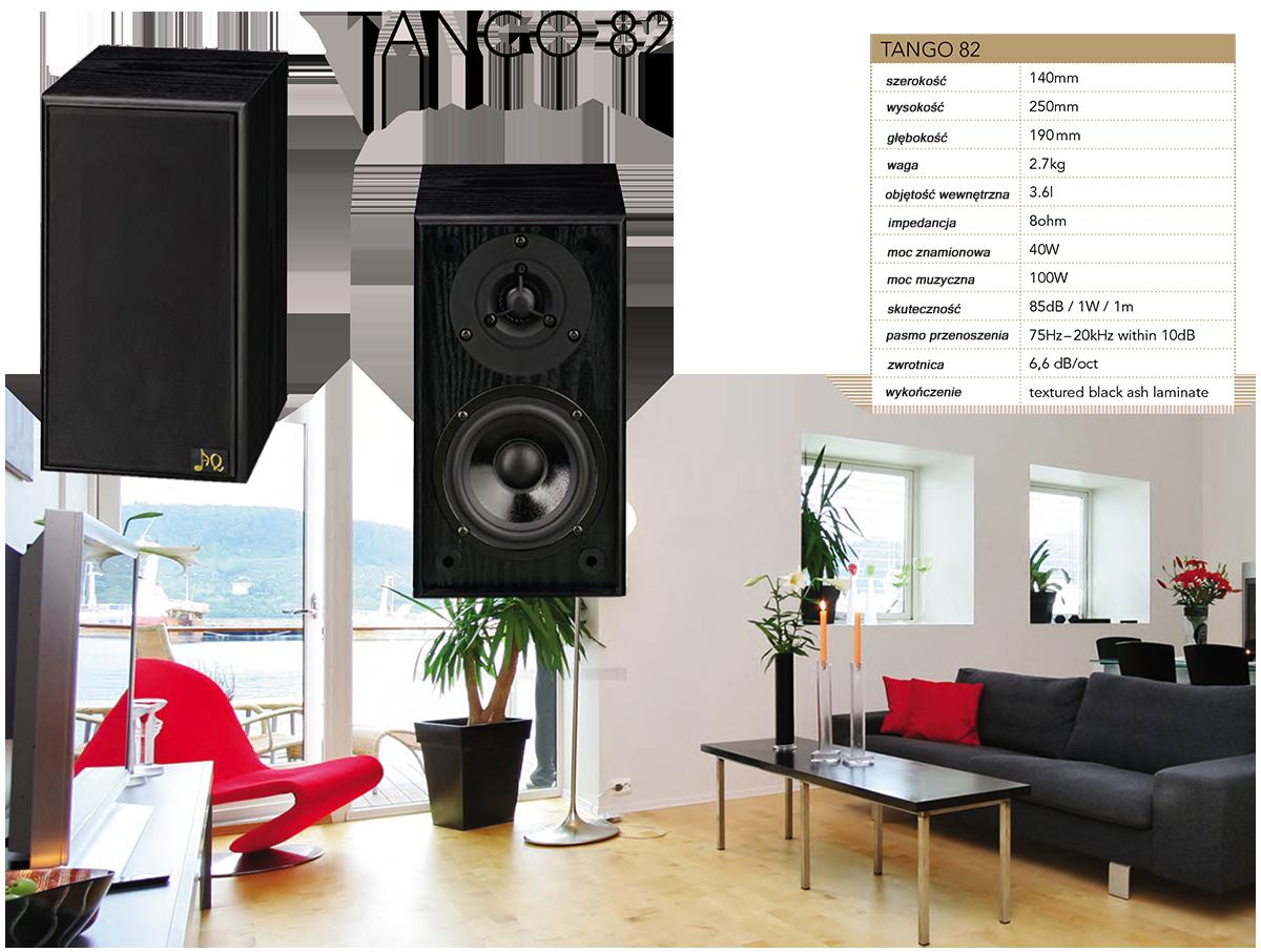 """AQ Tango 82 Dwudrożna surround i dźwiękowa kolumna głośnikowa, o mocy 100W i kompaktowych wymiarach. Dwudrożna kolumna głośnikowa o małych rozmiarach z obudową typu bassreflex. Średniobasowy głośnik 4,5"""" z papierową membraną w stalowym koszu. Wysokotonowy głośnik ¾"""" z ferrofluidem w szczelinie magnetycznej. Bassreflex znajduje się na tylnej ściance obudowy. Kolumna głośnikowa nadaje tam gdzie mimo minimalnych możliwości przestrzennych wymagana jest wysokiej jakości reprodukcja stereofoniczna. Aby osiągnąć efekt mocnego basu jest możliwość dopełnienia AQ Tango 82 o aktywny subwoofer, na przykład z tej samej serii Tango 94. Tango 82 nadają się również do podłączenia do głośników surround w systemach kina domowego."""