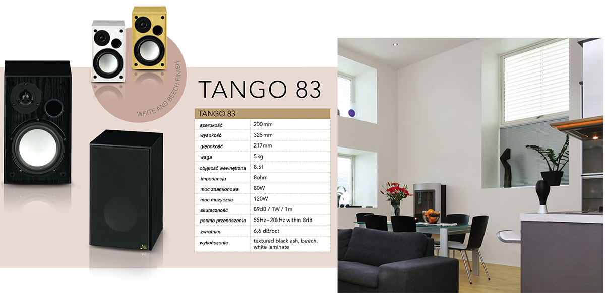 """AQ Tango 83 Dwudrożny zestaw, o mocy 120W, idealny do udźwiękowienia mniejszych przestrzeni, mieszkań i do użytku komercyjnego. Dwudrożna kolumna głośnikowa z maksymalnym możliwym wykorzystaniem. Dzięki bassrefleksowi w przedniej części można kolumnę postawić ją przy ścianie lub można przykręcić do tylnej ścianki uchwyt. Tango 83 doskonale udźwiękowi mniejszą klasę lub biuro. Nadaje się do publicznych, przestrzeni ale również znajdzie się jako tańsze rozwiązanie do salonu, ma swoje miejsce w wielu sypialniach i dziecięcych pokojach. Obudowa jest z płyty MDF, powlekanej folią z wierną imitacją drewna. Do sztywnej obudowy jest zamontowany ¾"""" wysokotonowy głośnik z ferrofluidem w szczelinie magnetycznej i 6"""" średniobasowy głośnik z lekką i sztywną aluminiową membraną w solidnym stalowym koszu. Wewnątrz zwrotnica 6,6 dB/okt z cewką głośnika basowego, nawiniętej z drutu miedzianego 1 mm na rdzeniu powietrznym. W ten sposób unika się w tanich kolumnach bieżącego przeciążenia przy większej mocy. Wszystkie połączenia wewnętrzne są lutowane na ciepło i są podłączone do zacisku sprężynowego na tylnym panelu."""