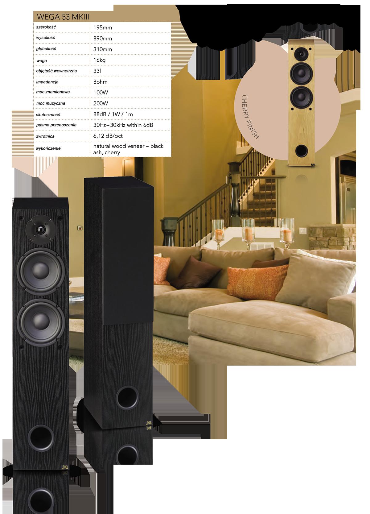 """AQ Wega 53 MKIII Dwudrożna kolumna jest wyposażona w dwa głośniki niskotonowe z papierową membraną dla wzmocnienia niższych częstotliwości, o mocy 200W, sytem bassreflex. Smukła słupowa kolumna głośnikowa ma gładki panel przedni z zagłębionymi średniobasowymi 6,5"""" głośnikami, pod nimi otwór bassreflex, w górnej części 1"""" wysokotonowy głośnik duńskiej marki Vifa. Niskotonowe głośniki ze stalowym koszem mają na gumowym zawiasie gumową membranę z papieru. Utworzona w ten sposób membrana jest lekka, jednocześnie bardzo sztywna i odporna na działanie fal stojących. Mocny obwód magnetyczny ma symetryczną konstrukcję. Wega 53 został zaprojektowany, aby móc w pełni funkcjonować jako głośniki stereo w pomieszczeniach o powierzchni do 30 metrów kwadratowych lub jako element do zbudowania kina domowego. Dla tych zastosowań, zalecamy połączenie z W 51, W 52, z subwooferem W 54. Kolumna głośnikowa zadowoli dźwiękiem audiofilskim. Doceniają to zwłaszcza miłośnicy muzyki akustycznej. Jego precyzja oznacza wierności partii wokalnych."""