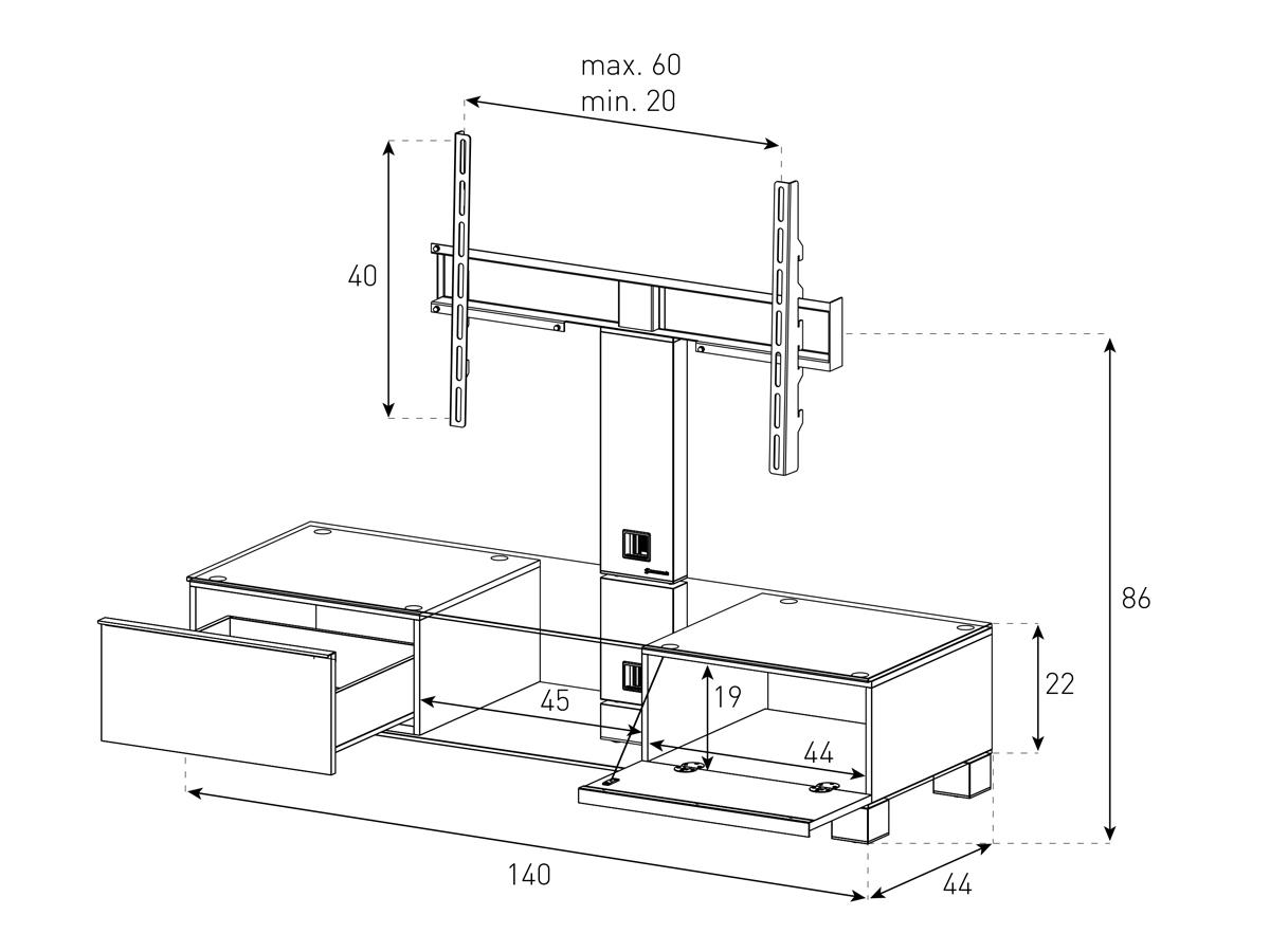 Wymiary stolika MD8140 HIHG GLOS