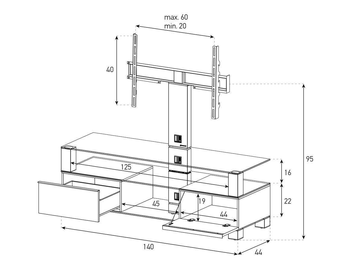 Wymiary stolika audio video rtv MD8143 HIGH GLOSS