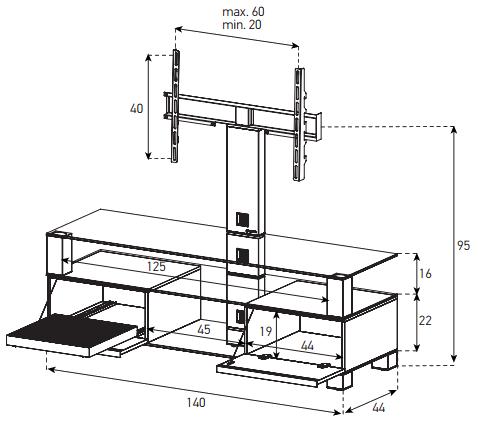 Wymiary stolika MD8143 WOOD