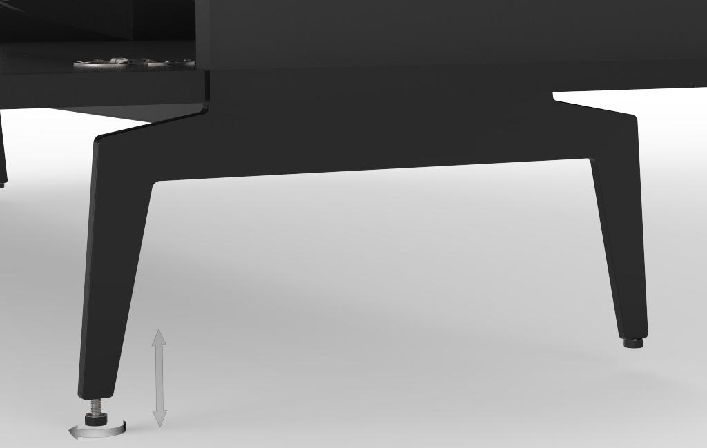 Metalowe nóżki wyposażone w regulowane stopki, co pozwala na idealne ustawienie szafki nawte na nierównej powieżchni.