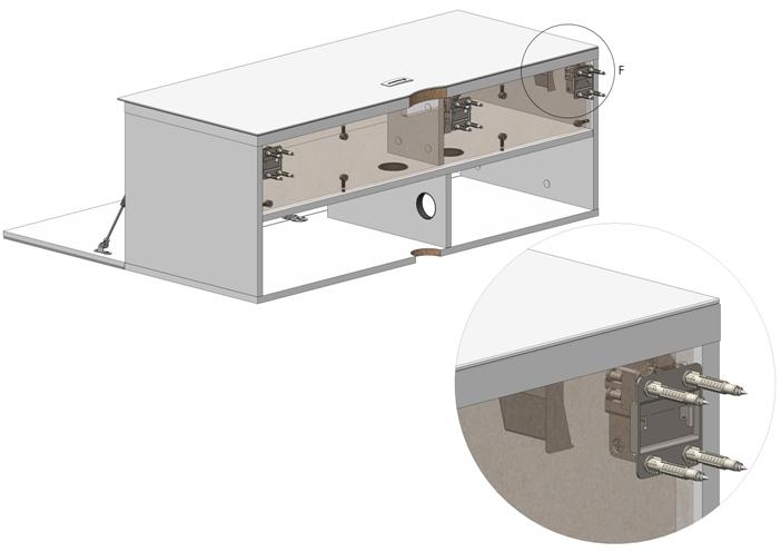 Montaż stolika STA-110-WL na ścianie za pomocą specjalnych uchwytów