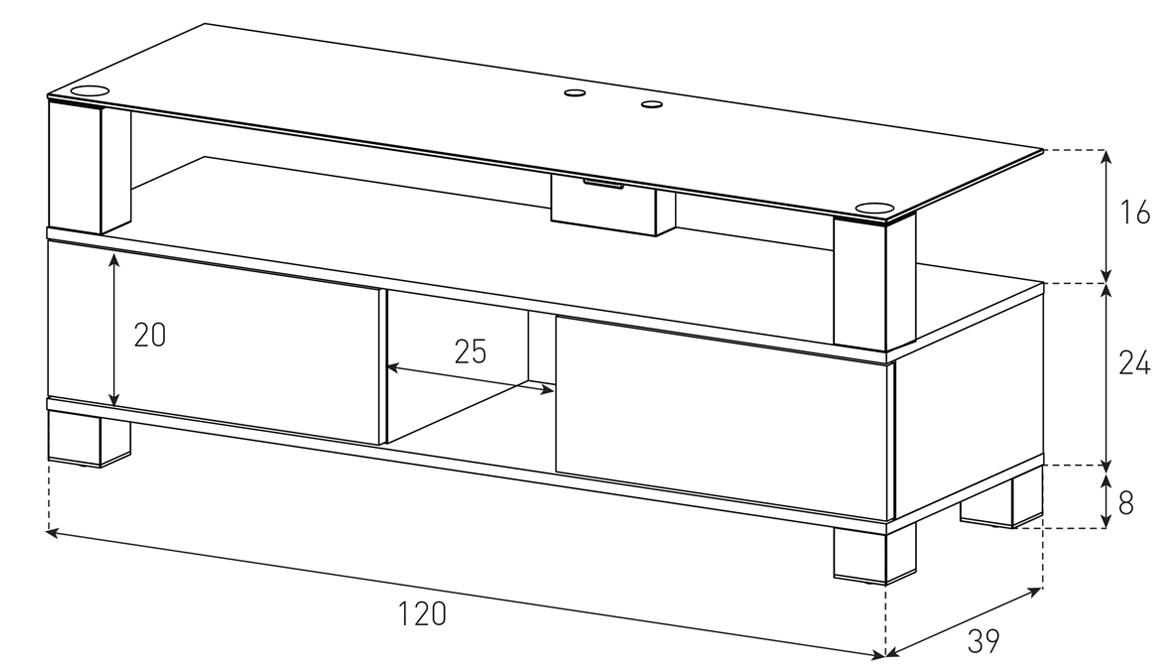 Wymiary stolika pod telewizor LB2120