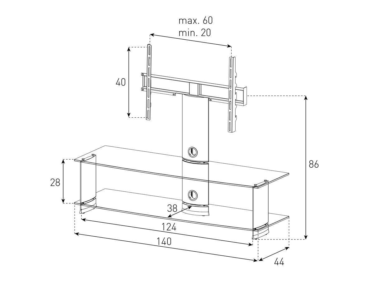 Wymiary stolika z uchwytem na telewizor PL2000