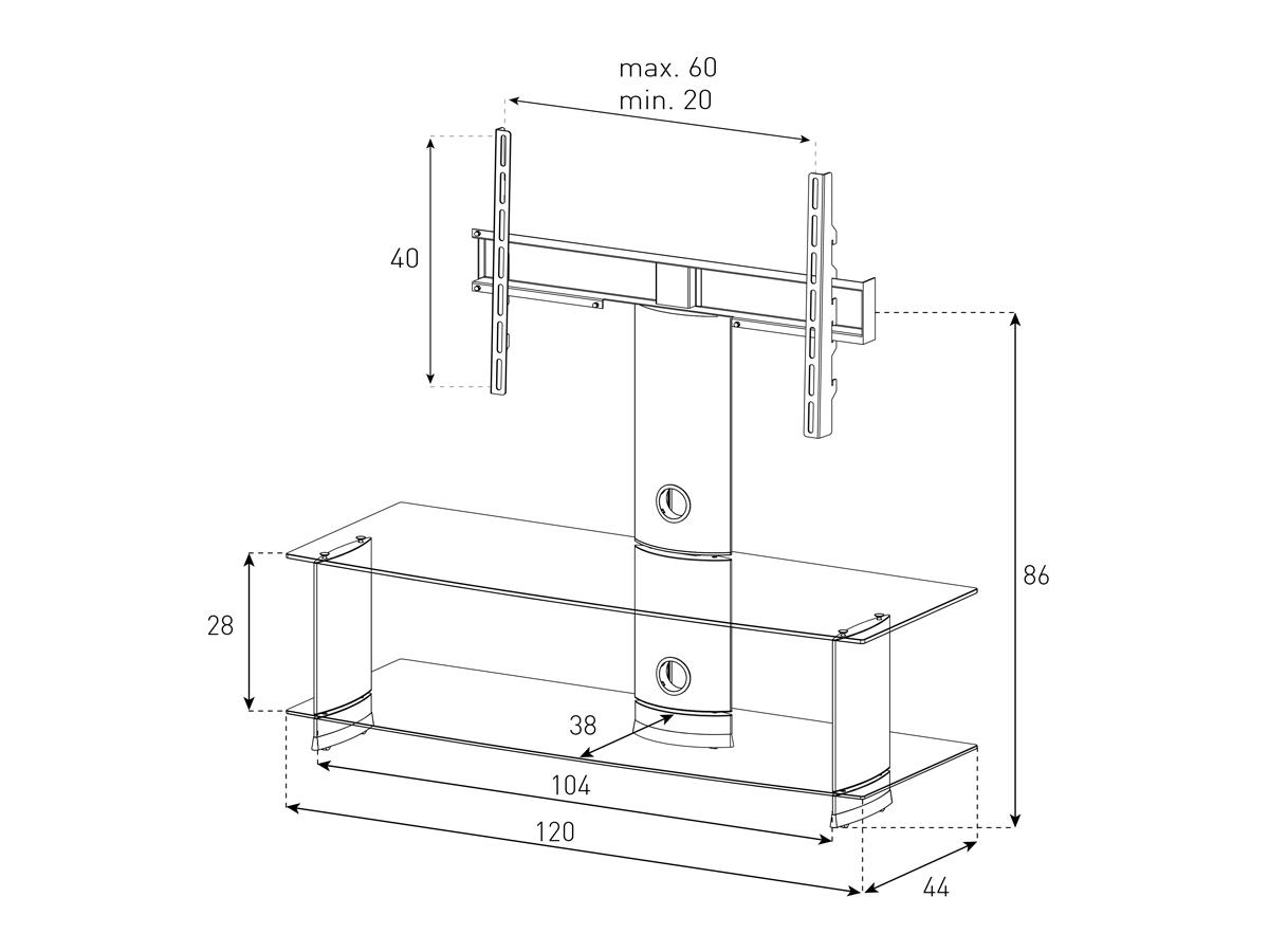 Wymiary stolika z uchwytem na telewizor PL2100