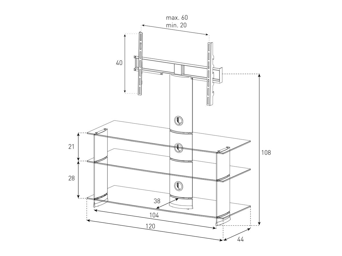 Wymiary stolika z uchwytem na telewizor PL2130