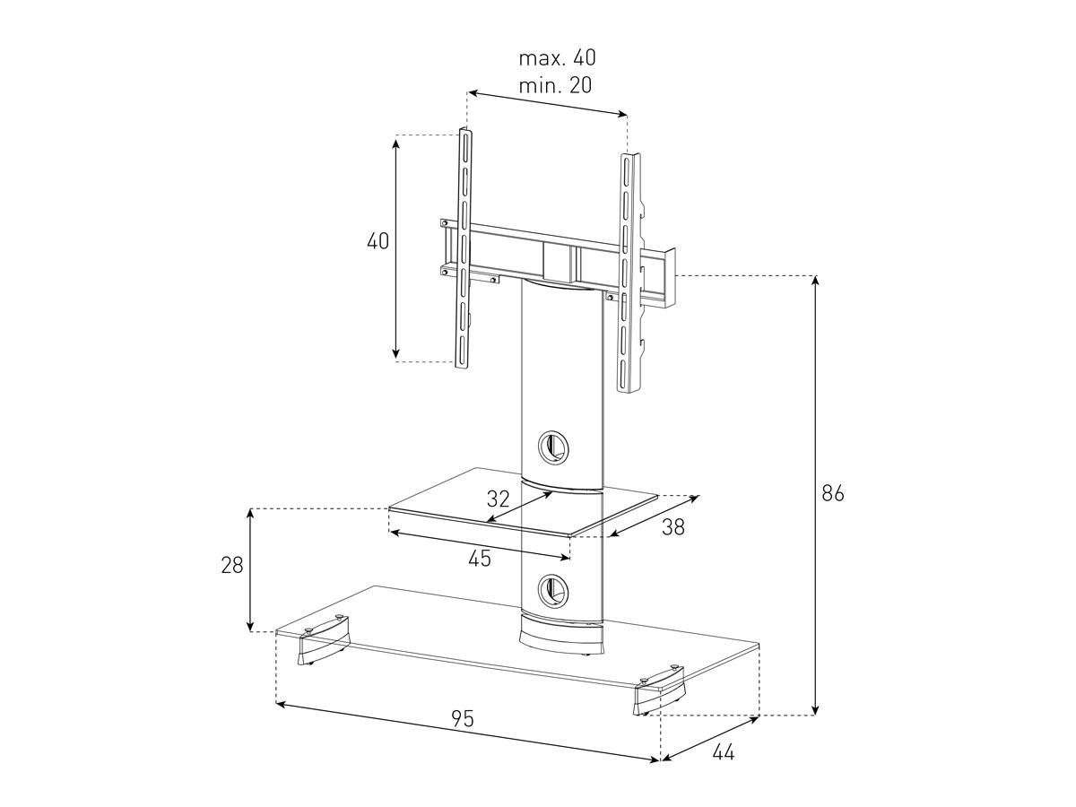 Wymiary stolika z uchwytem na telewizor PL2200