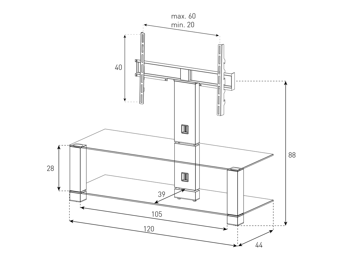 Wymiary stolika z uchwytem na telewizor PL2400