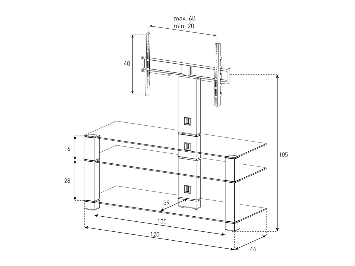 Wymiary stolika z uchwytem na telewizor PL2430