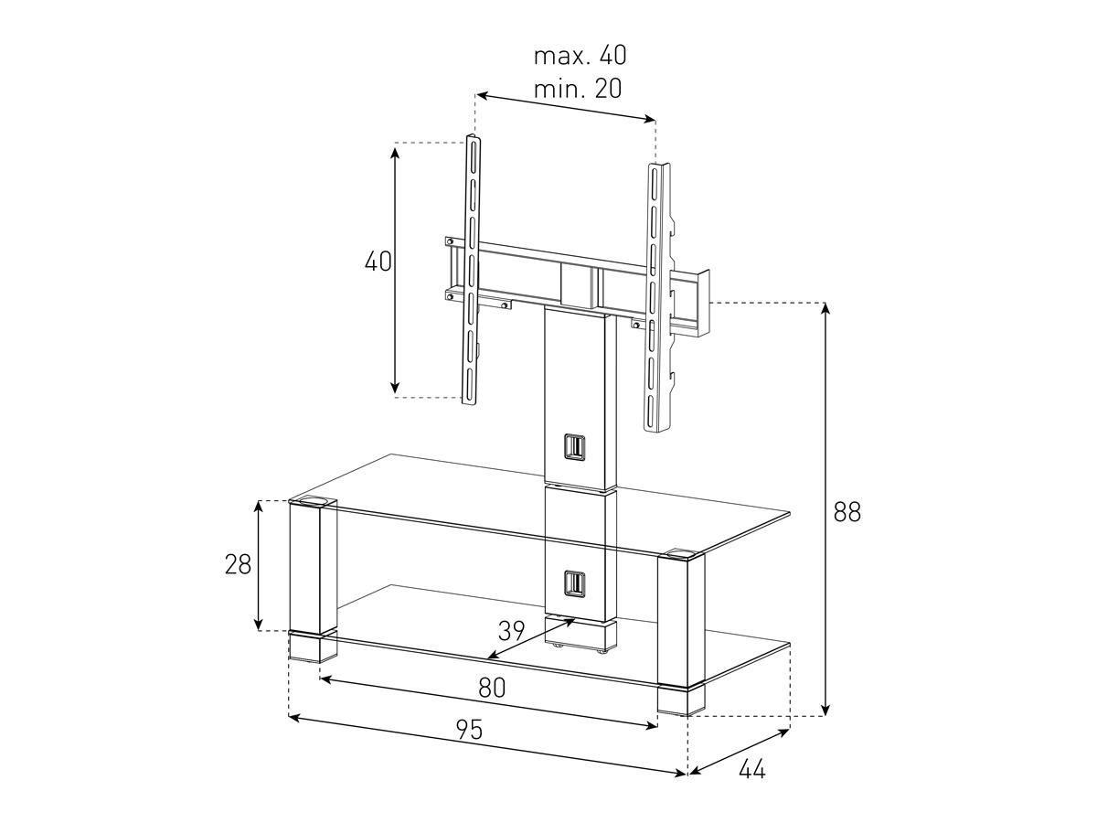 Wymiary stolika z uchwytem na telewizor PL2495