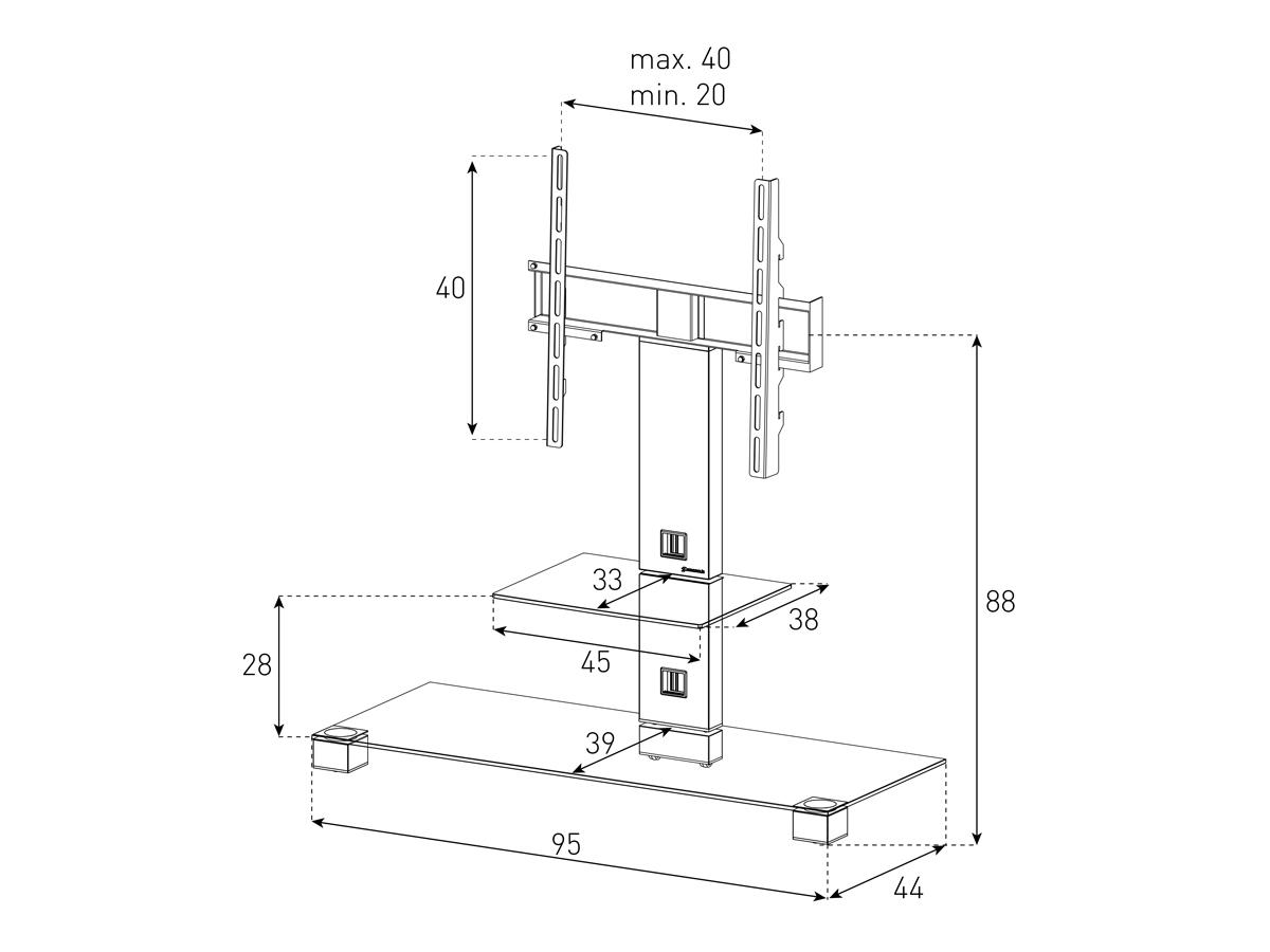 Wymiary stolika PL2500-B-INX