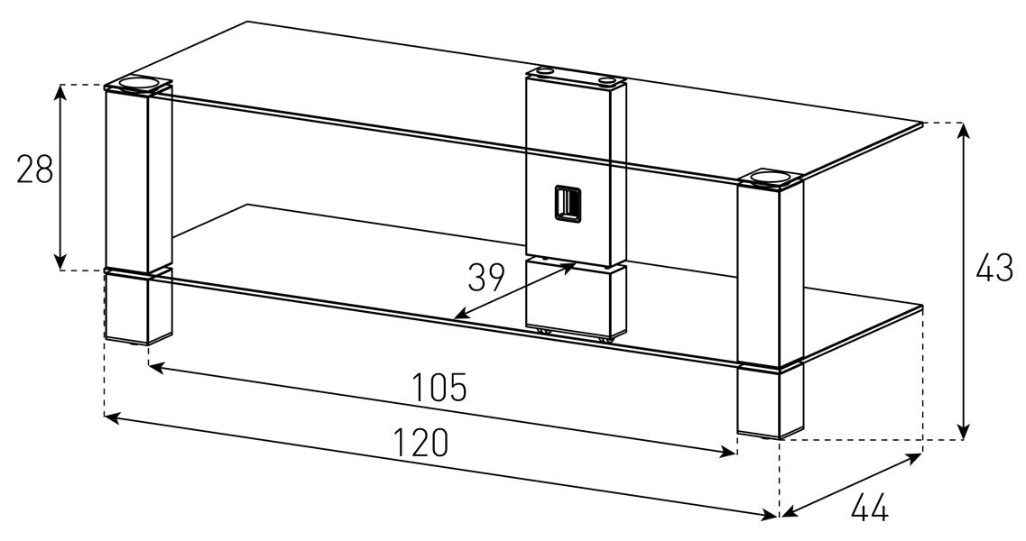 Wymiary stolika pod telewizor PL3410
