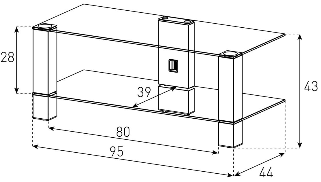 Wymiary stolika pod telewizor PL3415