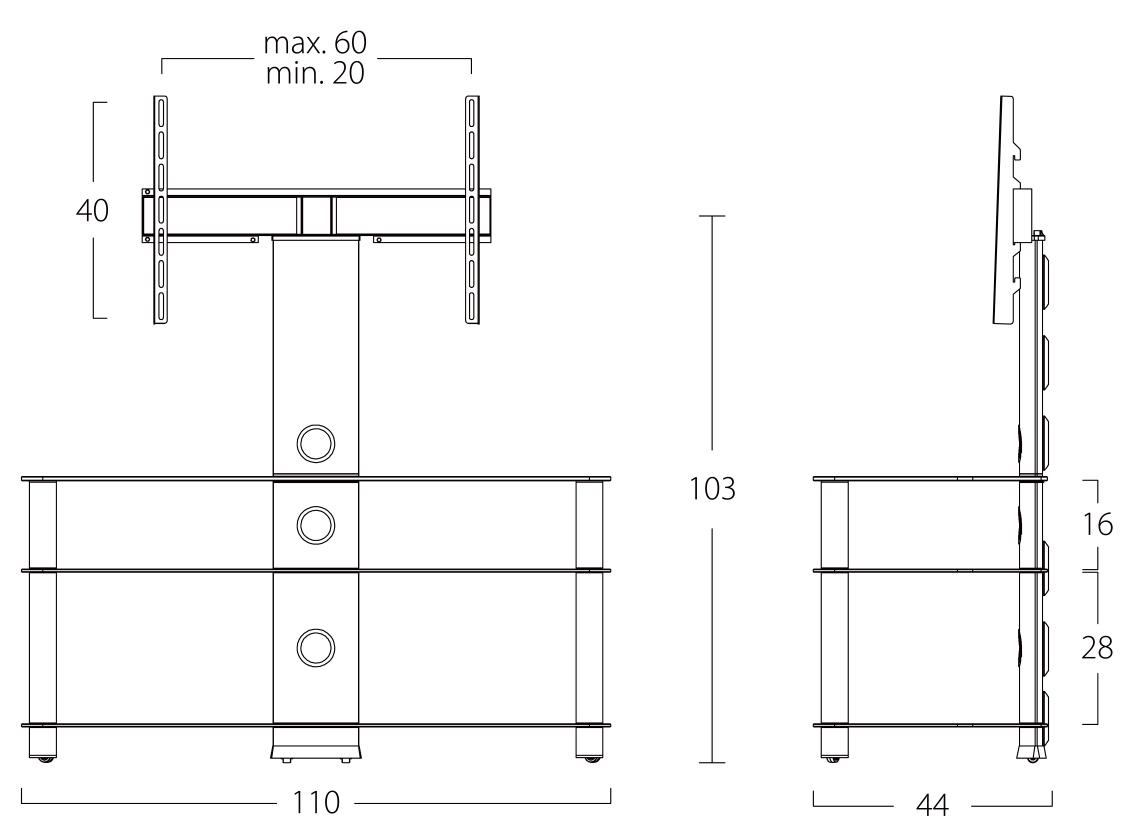 Wymiary stolika pod telewizor NEO1103