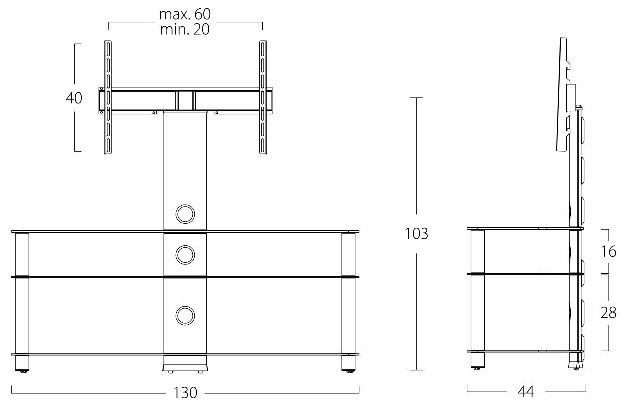 Wymiary stolika pod telewizor NEO1303