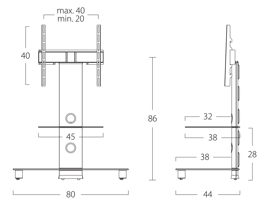 Wymiary stolika pod telewizor neo81