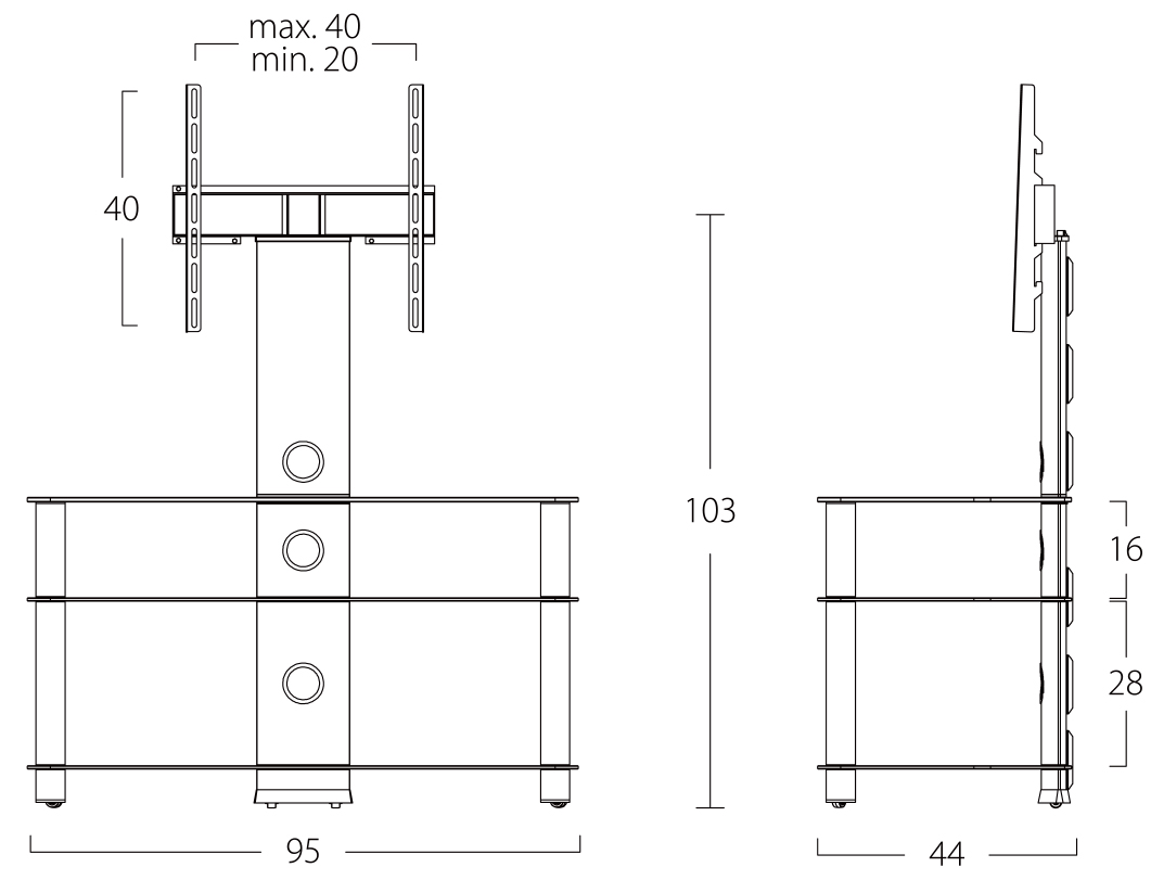 Wymiary stolika rtv NEO953